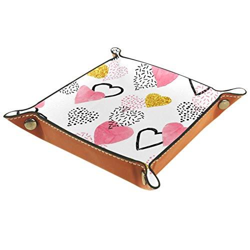 Bandeja de Cuero - Organizador - Patrón de corazón rosa brillante brillante - Práctica Caja de Almacenamiento para Carteras,Relojes,llaves,Monedas,Teléfonos Celulares y Equipos de Oficina