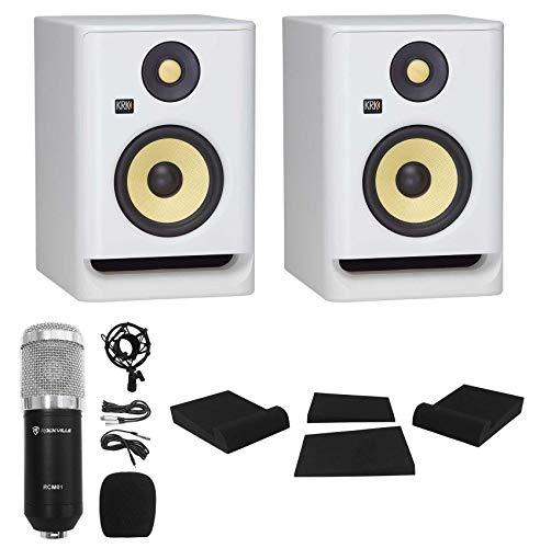 (2) KRK ROKIT RP5 G4 5' Studio Monitor DSP Speakers White Noise Edition+Mic+Pads