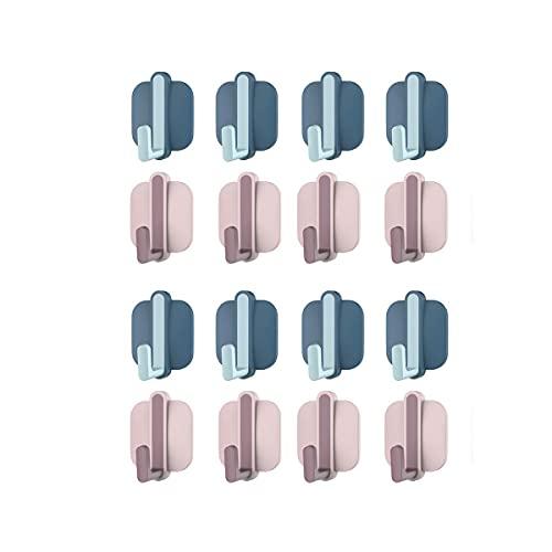 STROG 16 ganchos adhesivos para pared de plástico fuerte, sin clavos, ganchos extraíbles para dormitorio, baño, impermeable, para cocina, baño, oficina, armario y dormitorio (Style12, azul+rosa)