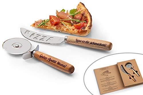 SNEG Pizza-Schneide-Set mit Gravur (Pizzamesser + Pizzaschneider) inkl. Geschenkbox