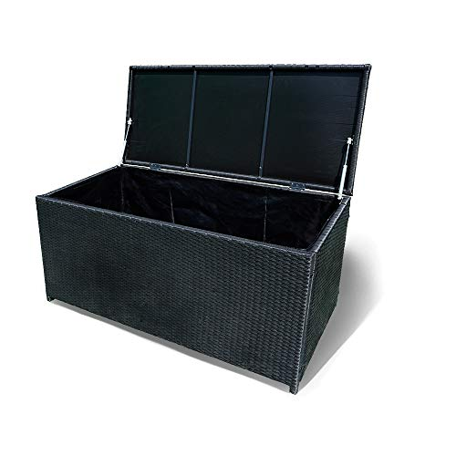 Aufun Garten Kissenbox Rattan 360L Gartenbox Aufbewahrung mit 2 Gasdruckfedern, Auflagenbox Polyrattan mit Abnehmbar Wasserdichtes Innenfutter, Rahmen aus Stahl 115 x 55 x 57 cm, Schwarz