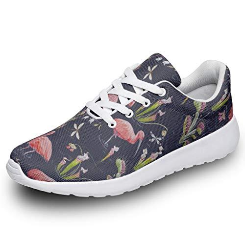 AXGM Damen Herren Sportschuhe Rosa Flamingo Pflanze Fluss Design Laufschuhe Turnschuhe Atmungsaktiv Straßenlaufschuhe Wanderschuhe Laufen Schuhe Sneakers White 45