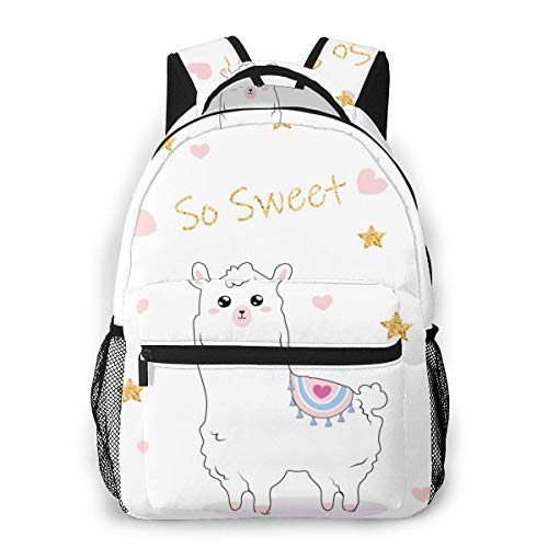 Xinkaize Stylish College School Backpack Cute Illustration with A Llama. Water Resistant Casual Daypack Rucksack Gym Bag for Women/Girls/Business/Travel