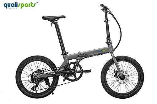 Qualisports Electric Ebike Volador 20' Folding Bicycle Approved UL2849, 36V/7Ah Battery, 350W Hub Motor, 20MPH Max Speed, 25+Miles Range, 7 Speed Shifter for Adults(Silver)