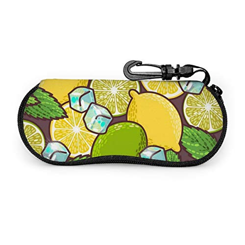 Seamless Lime Lemon And Peppermint Sunglasses Case Soft Ultra Light Neoprene Zipper Eyeglass Case With Carabiner Glasses Soft Case Customized
