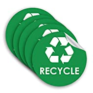 """Recycle Sticker Trash Bin Label - 4"""" x 4"""" - 5 Pack Organize Garbage Waste from Recycling - Great for Metal Aluminum Steel or Plastic Trash Cans - Indoor & Outdoor - Use at Home Kitchen & Office"""