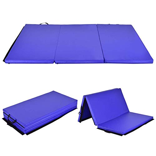 Giantex 6' x 4' x 2' Gymnastics Mat Thick Folding Panel Tumbling Mat with Handles for Gym Fitness Exercise with Hook & Loop Fasteners (Pink/Blue/4-Fold)