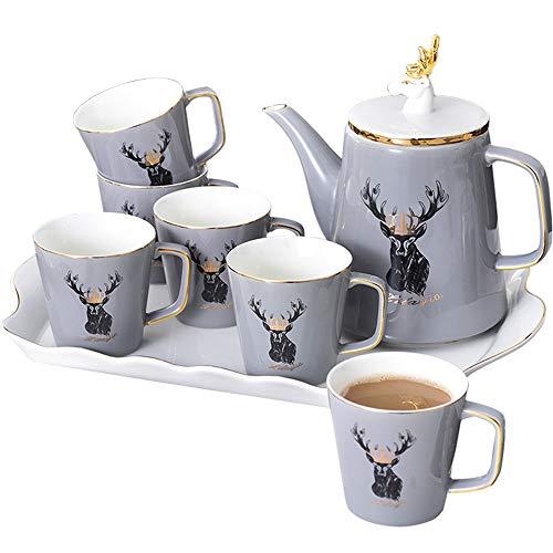 GJ Juegos de té de Porcelana para el hogar, Servicio de Platos de Tazas para 8, con cucharas de Jarra de Crema azucarera de Tetera y colador de té para té/co