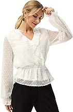 White Chiffon Blouse for Women Plus Size Lantern Long Sleeve Ruffle V Neck Wrap Tops White XXL