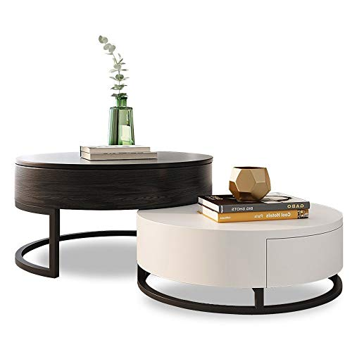 Homary Round Coffee Table Storage Lift-Top Wood Coffee Table Lifts up with Rotatable Drawers White Black
