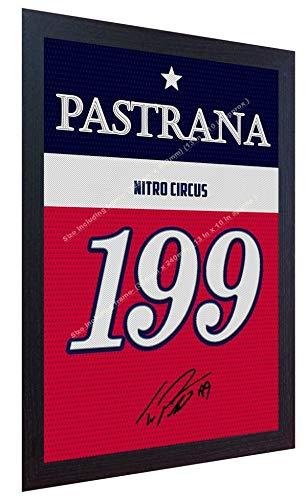 SGH SERVICES - Camiseta de Manga Corta con autógrafo de la película Travis Pastrana Nitro Circus enmarcada en Lienzo de 100% algodón con autógrafo Enmarcado