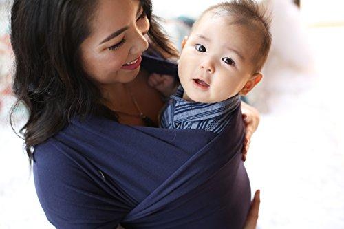 Boba Wrap, Fular Elástico Portabebé Ergonómico - Ideal Porteo Recién Nacidos (Navy Blue)
