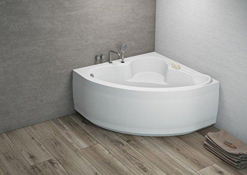 ALB Komfortable Eck Badewanne-Acryl 120x120x57,5 inkl. Wannenfuß und Ablaufgarnitur, Schürze:mit Schürze
