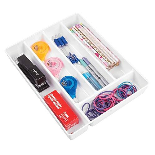 mDesign rangement pour tiroir pour le bureau antidérapant – range-couvert avec cinq compartiments – organisateur de tiroir pour stylos, gomme et autres accessoires de bureau – blanc