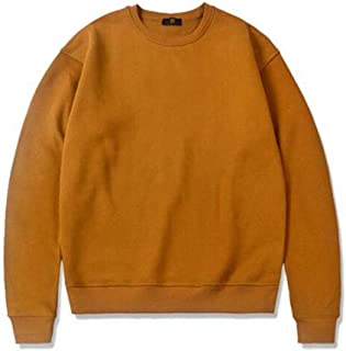 Sweatshirt Autumn and Winter European and American Men's Plus Velvet Pullover, Basic Solid Color Round Neck Loose Sweatshirt (Color : Yellow, Size : L)