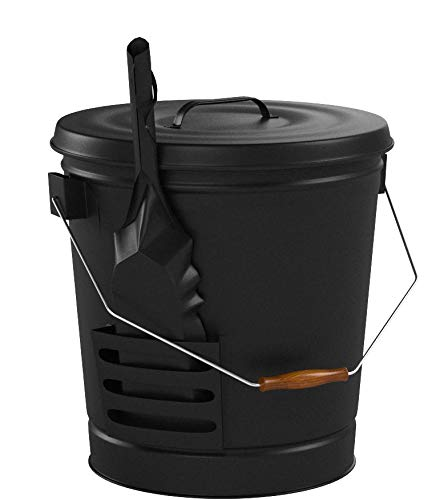 Panacea 15343 Ash Bucket with Shovel, Black 3 Ash bucket with shovel A specifically designed pocket on the side of the bucket holds the shovel, for an all in one unit, and the included lid keeps ash from spilling onto the floor This generous bucket holds plenty of ash from past fires, and the included shovel makes cleanup simple
