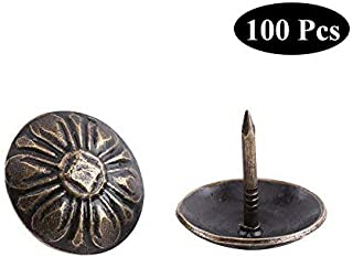 100pcs Antique Bronze Upholstery Nail Wood Decorative Tack Stud for Home Furniture Decor (Size:Type5-green Bronze)
