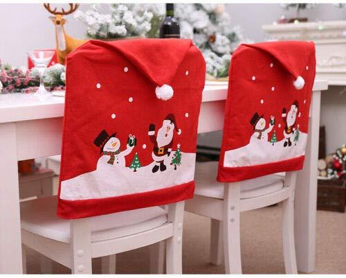 joyfuntech 10er Set Stuhlhussen für Weihnachten Weihnachtsmann Mütze Deko Stuhlbezug Nikolaus Weihnachtsdeko