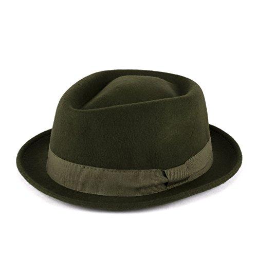 Hat To Socks Hat To Socks Wolle Diamantförmiges Pork Pie Hut mit Grosgrain Bandhandgefertigt in Italien