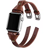 VIQIV Leather Band Compatible with Apple Watch Series 5 4 3 38mm 40mm 44mm 42mm Bands for Women iWatch Unique Wristbands Bracelet Strap Double-Breasted Brown