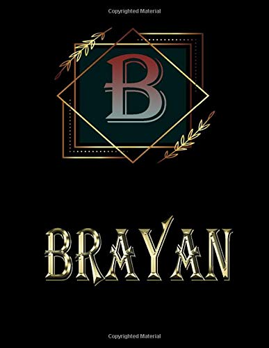 Brayan: Personalized Name Sketchbook.Monogram Initial Letter B Journal. Brayan  Cute Sketchbook on Black  Cover , Blank Paper 8.5 x 11 ,Great For Drawing, Sketching, Crayon Coloring and colored pencil