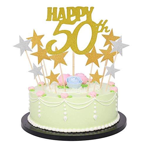 Dusenly Decoración para tarta de cumpleaños con letras brillantes,  números dorados y brillantes para tarta de cumpleaños (41 unidades) 18 # 80 (50 estrellas)