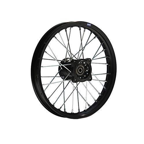 Hmparts Pit Bike Dirt Bike Cross Cerchio Alluminio Anodizzato 14 Pollici Anteriore Nero 12 mm Typ2