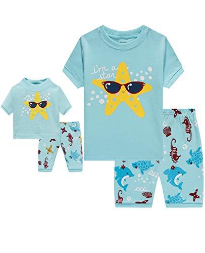 Babyroom Girls Matching Doll&Toddler 4 Piece Cotton Pajamas Toddler Starfish Sleepwear Size 4 Blue …