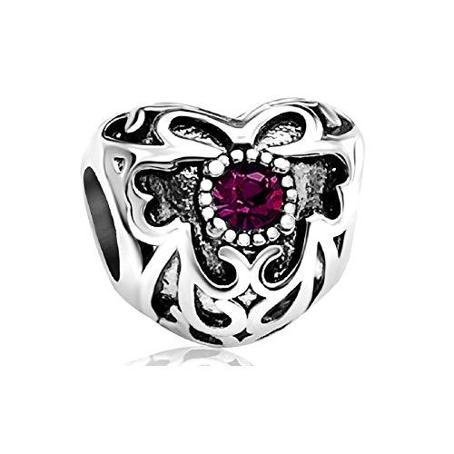 KunBead Grandma Love Purple February Birthstone Birthday Heart Charms for Bead Bracelets for Women Jewellery