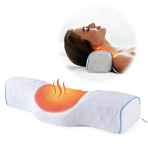 Neck Pillows for Pain Relief Sleeping, Heated Memory Foam Cervical Neck Pillow with USB Graphene Heating and Magnetic Therapy for Stiff Neck Pain Relief, Neck Support Pillow Bolster Pillow for Bed