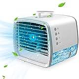 4 in 1 Mini Klimaanlage Für Zimmer, Kleine Klimaanlage mit Wassertank Für Zimmer, Mobile Klimaanlage Klein Leise USB, Luftbefeuchter,Mini Klimaanlage, Tragbare Klimaanlage,3 Kühlstufen, 7 Farben LED