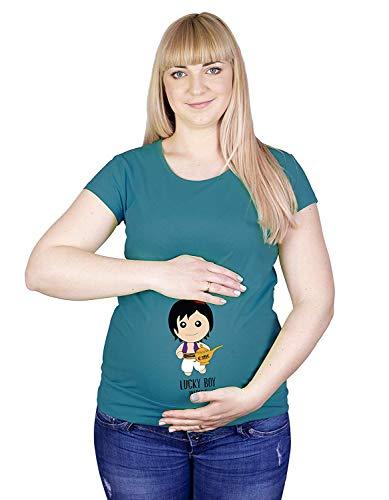 Colour Fashion Maternité T-Shirt Alladin Lucky Boy Imprimé Doux Grossesse Coton Hypoallergénique - Sarcelle Sombre, XL