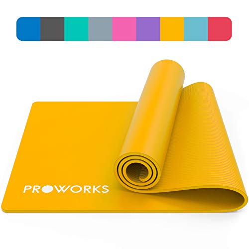 Proworks Yoga Mat, Eco Friendly NBR, Non-Slip Exercise Mat with Carry Strap for Yoga, Pilates, and Gymnastics - 183cm x 60cm x 1cm - Mellow Yellow