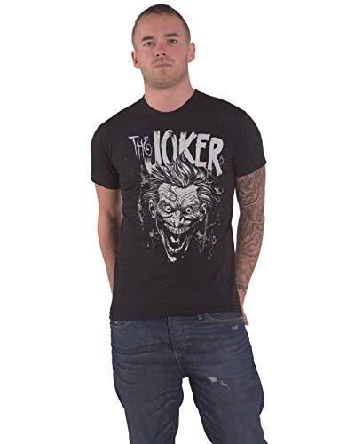 DC Comics Joker Camiseta Cara Logo Oficial Hombres Negro, Negro, XL