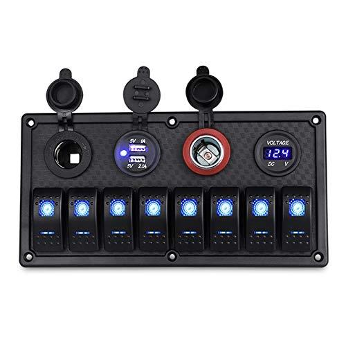 Longx Store 12V / 24V 8 Gang Marine Switch Panel On-Off + Dual USB Power Cigarette Encendedor Socket Impermeable con voltímetro LED Carga USB