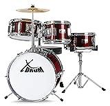 XDrum 7102 - Set de batería para niños con plato, baquetas, método y DVD