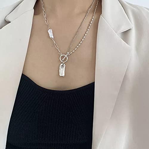 Chenfeng Collar con Colgante de Mujer Collar de Perlas barrocas Irregulares para Mujer Collar geométrico OT Broche joyería de Fiesta Regalos para Esposa Madre y Novia Regalo de cumpleaños