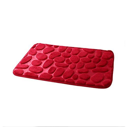 FNKDOR Teppich Wohnzimmer Türöffnung Stufenmatten Bequem Memory-Schaum Bodenmatte Rot 40 x 60 cm