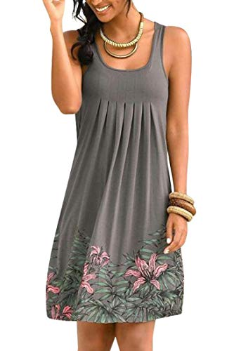 Heekpek - Elegante vestido de ganchillo de punto, estilo bohemio, para la playa, para el verano, con encaje, para la playa gris S