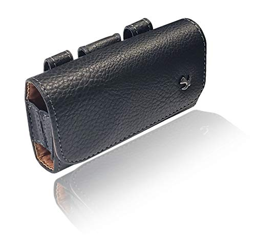 AH Small Horizontal Leather Pouch, Holster Flip Phone with Belt Clip Belt Loop Case Fits LG B470 Kyocera Cadence LTE Alcatel Go Flip/MyFlip FLIP Palm Phone and Most Small Sized Flip Phones