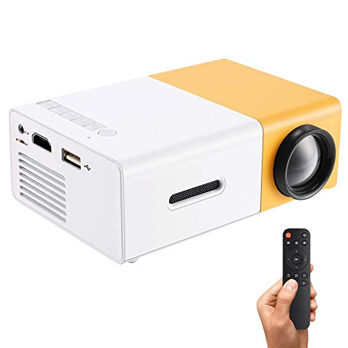 Portable LED Projector Support PC Laptop USB Stick USB/SD/AV/HDMI Input for Video/Movie/Game/Home Theater Video Projector, Best Gift for Kid