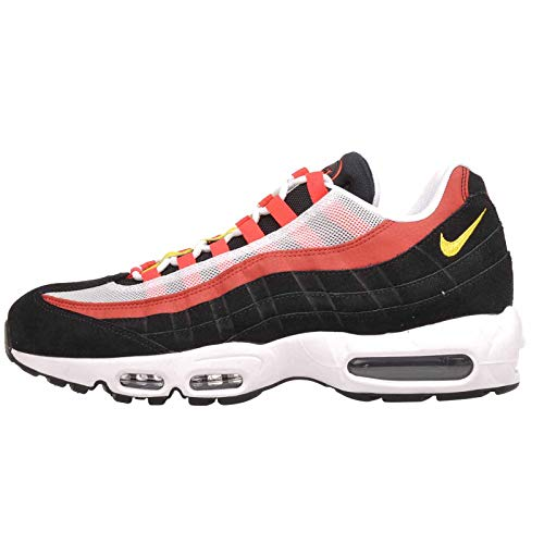 Nike Schuhe Air MAX 95 Essential White-Chrome Yellow-Black-Bright Crimson (AT9865-101) 45 Schwarz