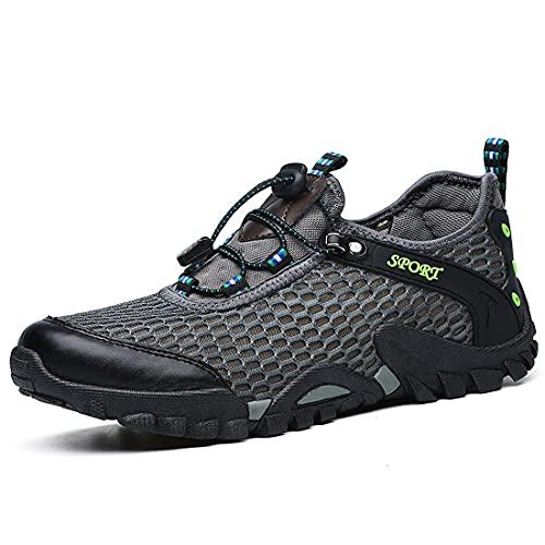 XIMIXI Botas de pesca para hombre, botas de pesca, con drenaje de malla, transpirables, zapatillas de deporte de montaña, suela de goma antideslizante, zapatos de agua para hombre, gris, 40 EU