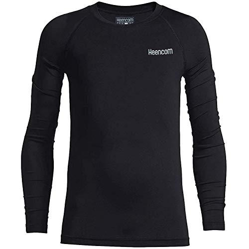 Heencom Youth Boys Girls Compression Tops Long Sleeve Sport T-Shirt Football Baseball Undershirt Quick Dry Baselayer Black