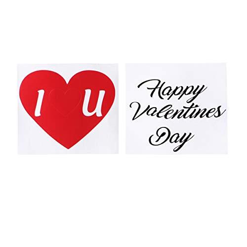 Amosfun 2 stks Happy Valentines Stickers Glazen Bekers Sticker Liefde Scrapbook Stickers voor Valentijn Gift Festival Wrap Markers (Rood+Zwart)