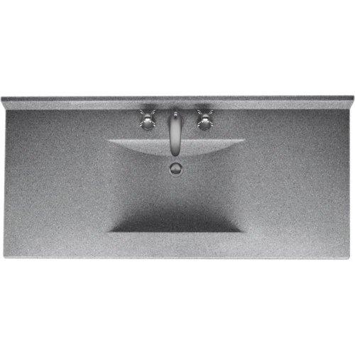 Swanstone CV02243.042 Contour Solid Surface Single-Bowl Vanity Top, 43-in L X 22-in H X 6.25-in H, Gray Granite