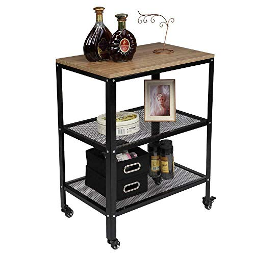 Home & More 3-Tier Space Saver Kitchen Island Cart,Industrial Rolling Utility Storage Cart Baker's Rack Durable Accent Long Lasting