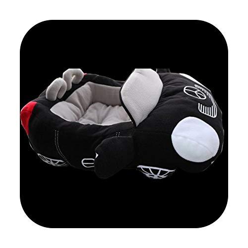 Niedliches Hundebett in Autoform, abnehmbar, waschbar, PP-Baumwolle, weich gepolstert, warmes Haus für kleine Hunde und Katzen, Schlafzubehör, schwarz, 72 x 50 x 30 cm