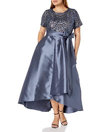 R&M Richards Women's Plus Size Womans hi lo Sequins Elegant Gown, Charcoal, 20W