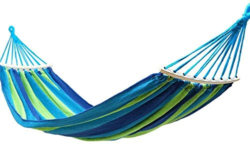 BZLLW Hammock,Single Rollover Prevention Hammocks Outdoor/Garden Leisure Camping Portable Beach Swing Bed Tree Hanging Suspended Hammock (Color : Blue, Size : 190x80cm(75x31inch))